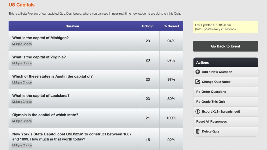 Screenshot of Quiz Dashboard